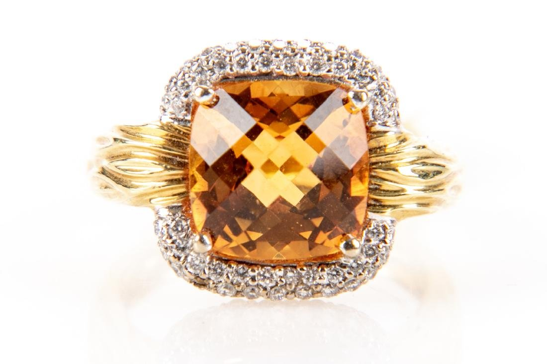 18K Gold, Citrine And Diamond Ring, By Spark
