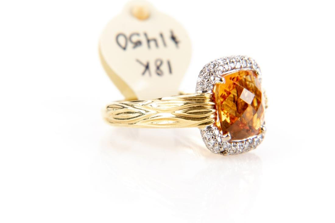 18K Gold, Citrine And Diamond Ring, By Spark - 3