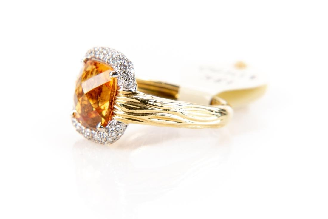 18K Gold, Citrine And Diamond Ring, By Spark - 5