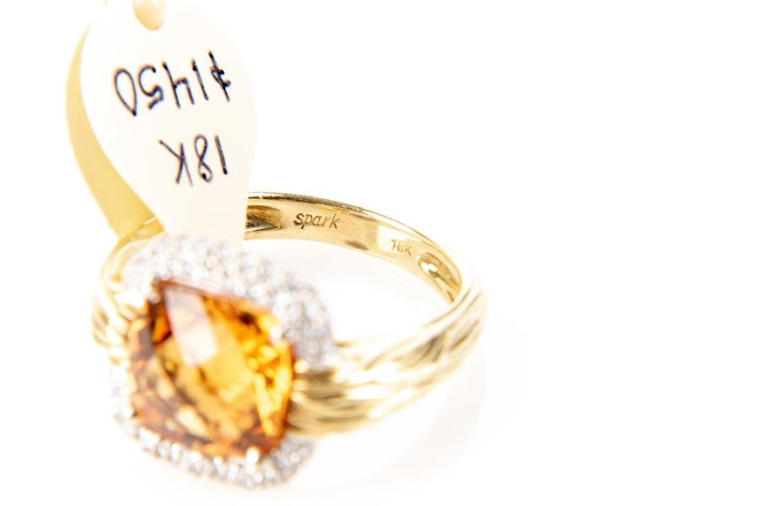18K Gold, Citrine And Diamond Ring, By Spark - 6