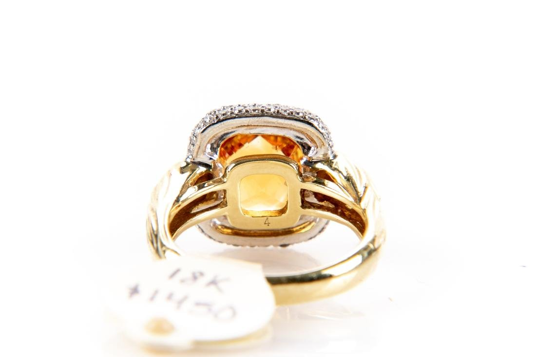 18K Gold, Citrine And Diamond Ring, By Spark - 7