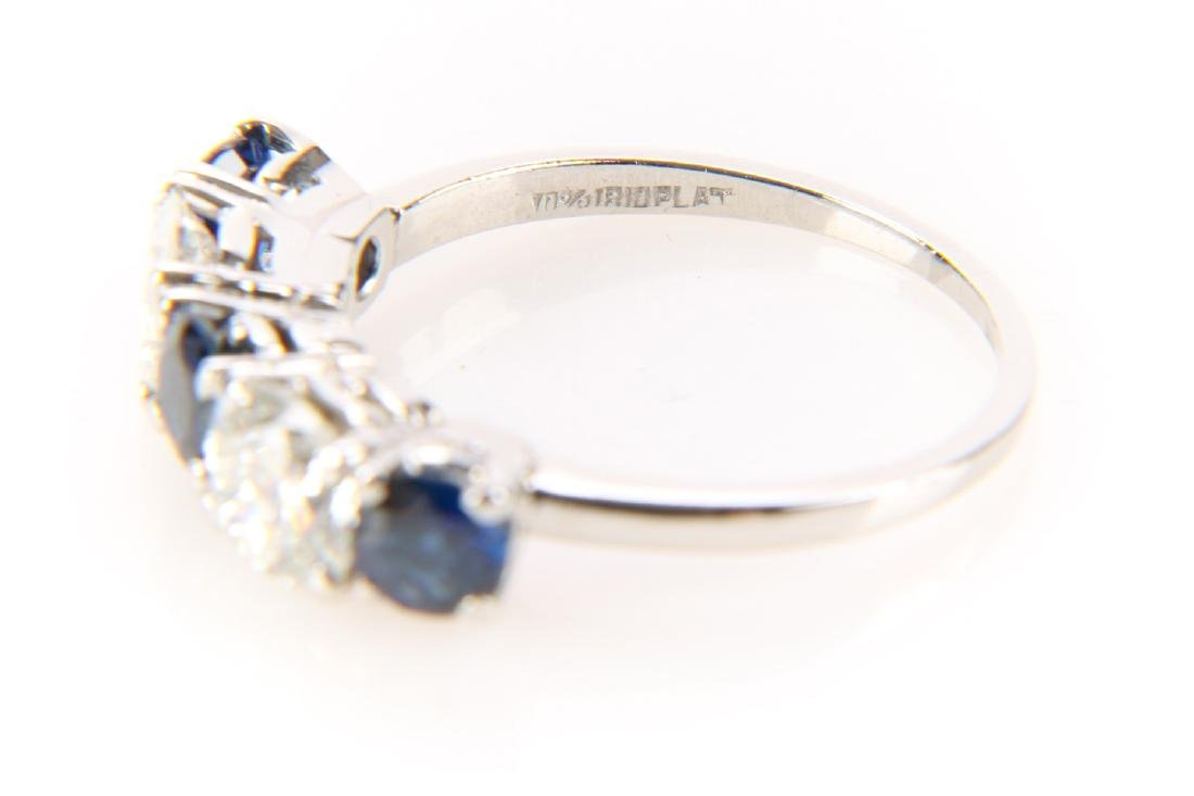 Platinum, Sapphire And Diamond Ring - 4