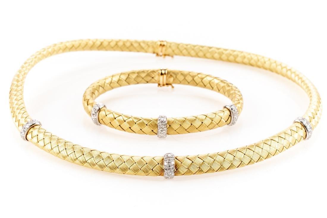18K Gold, Diamond Necklace & Bracelet, By Roberto Coin