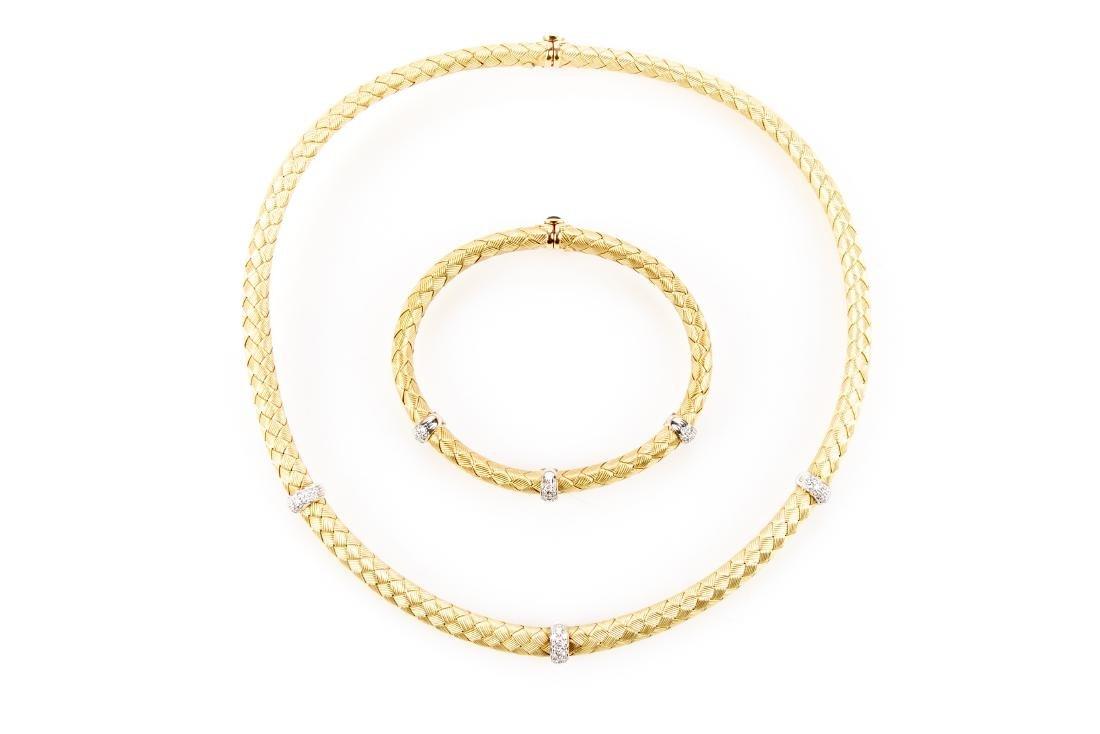 18K Gold, Diamond Necklace & Bracelet, By Roberto Coin - 4