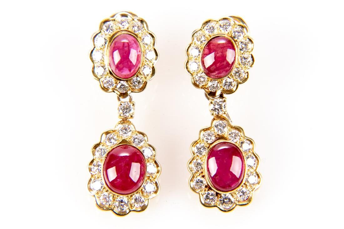 Ruby And Diamond 18K Gold Earrings With Appraisal