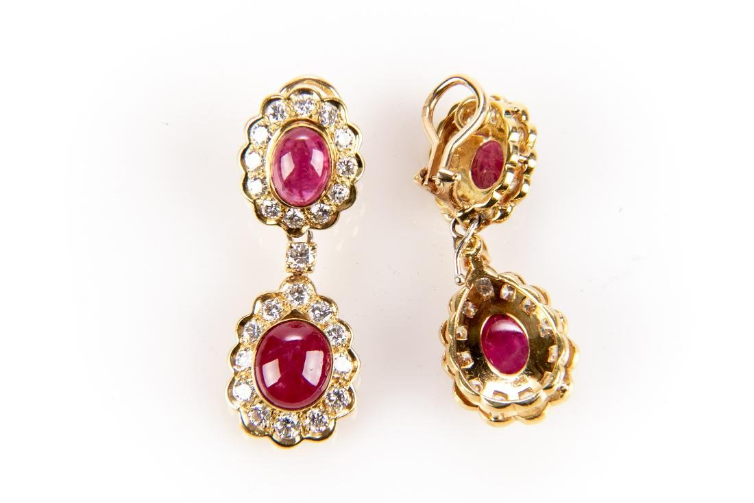 Ruby And Diamond 18K Gold Earrings With Appraisal - 2