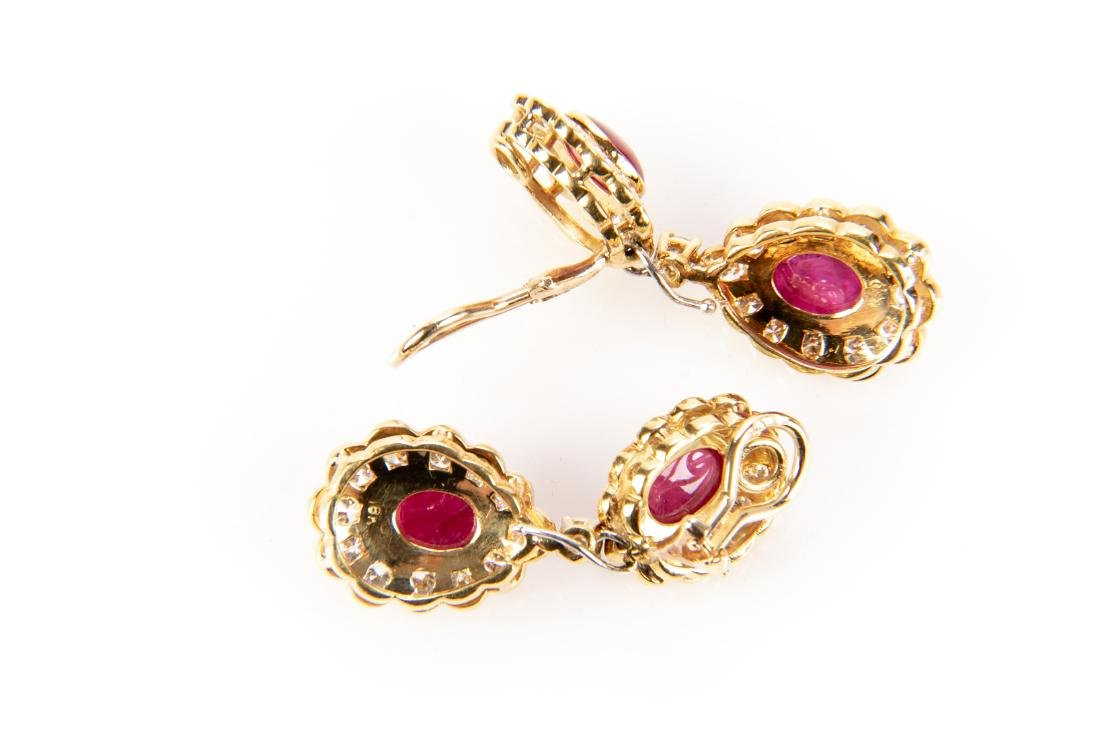 Ruby And Diamond 18K Gold Earrings With Appraisal - 3