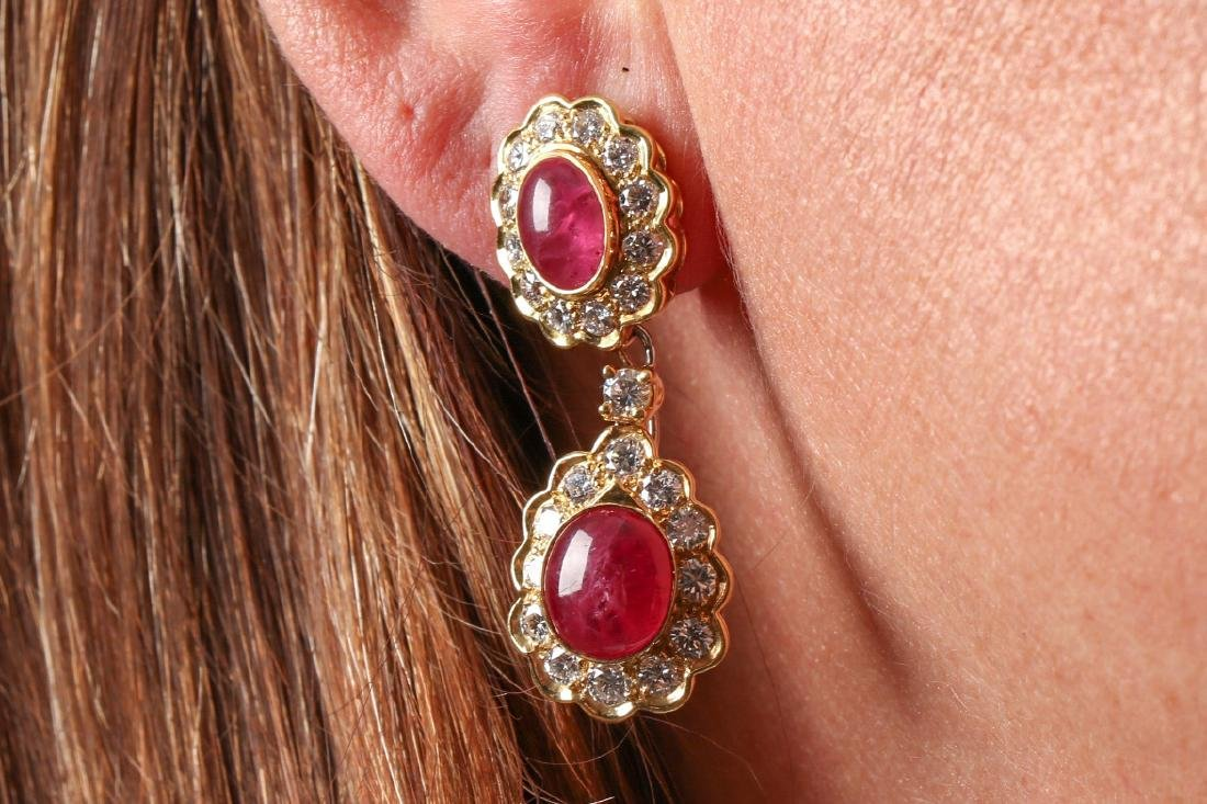 Ruby And Diamond 18K Gold Earrings With Appraisal - 7