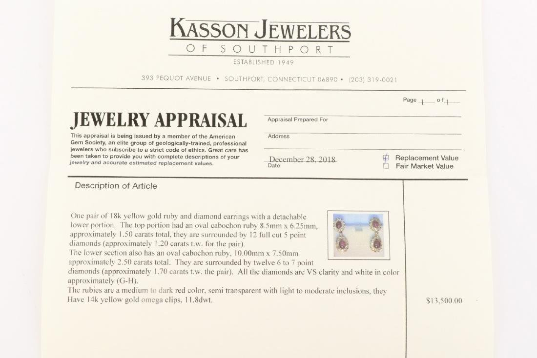 Ruby And Diamond 18K Gold Earrings With Appraisal - 9