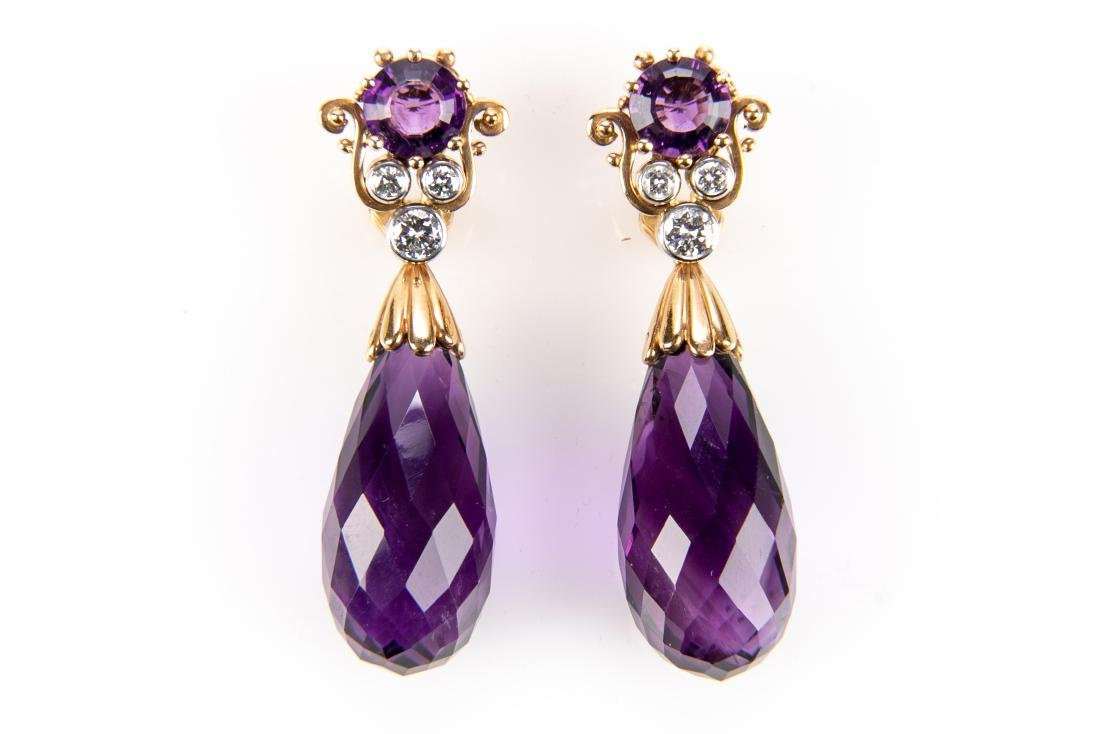 Amethyst And Diamond 18K Gold Earrings With Appraisal