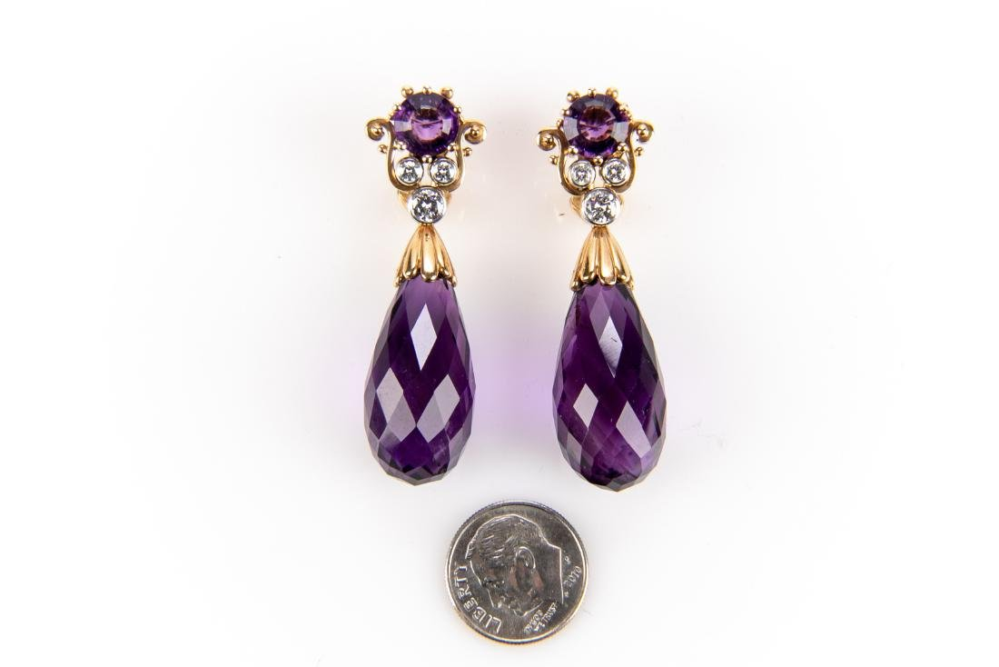 Amethyst And Diamond 18K Gold Earrings With Appraisal - 2