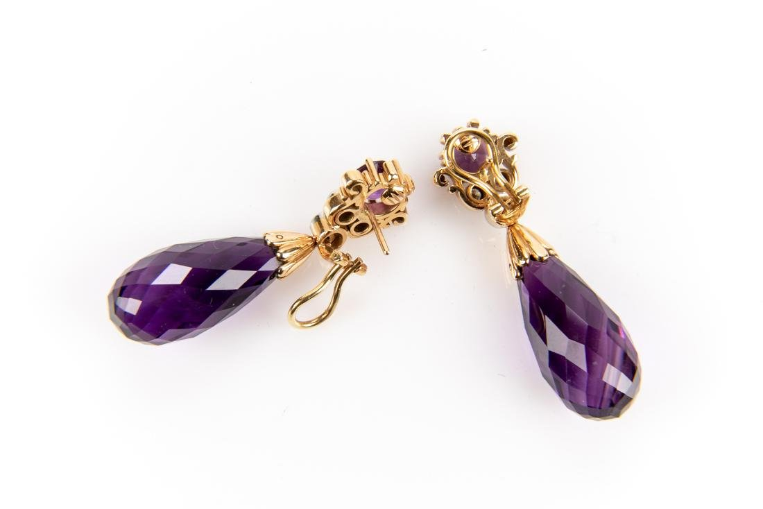Amethyst And Diamond 18K Gold Earrings With Appraisal - 3