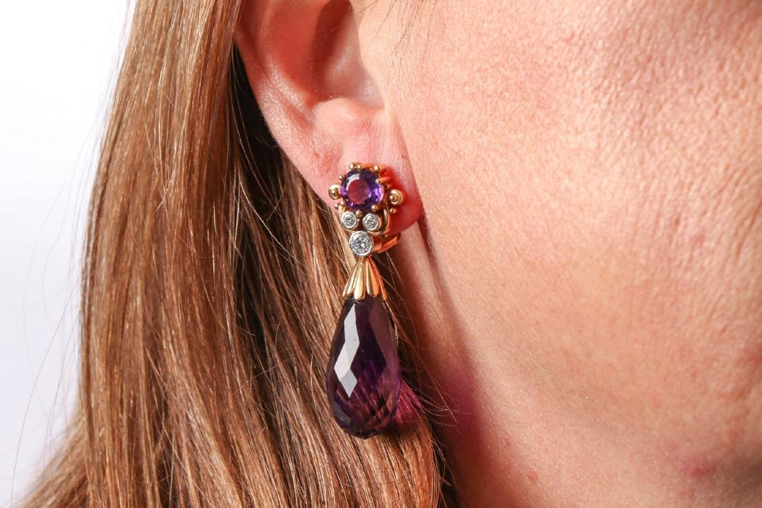 Amethyst And Diamond 18K Gold Earrings With Appraisal - 6