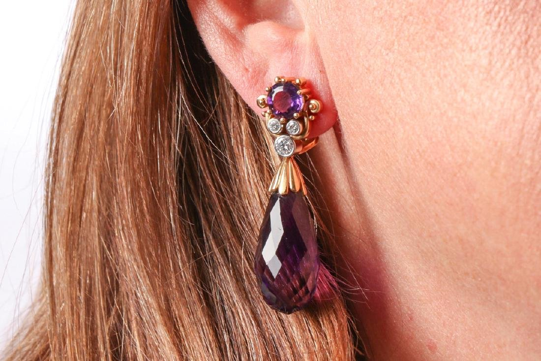 Amethyst And Diamond 18K Gold Earrings With Appraisal - 7