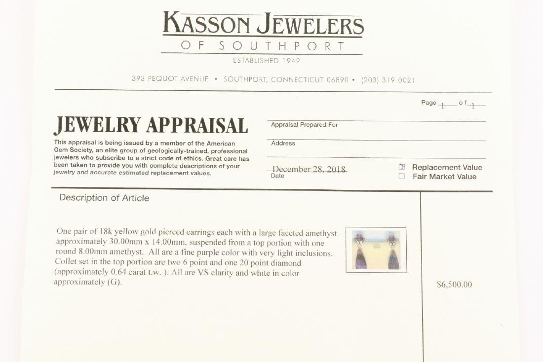 Amethyst And Diamond 18K Gold Earrings With Appraisal - 8