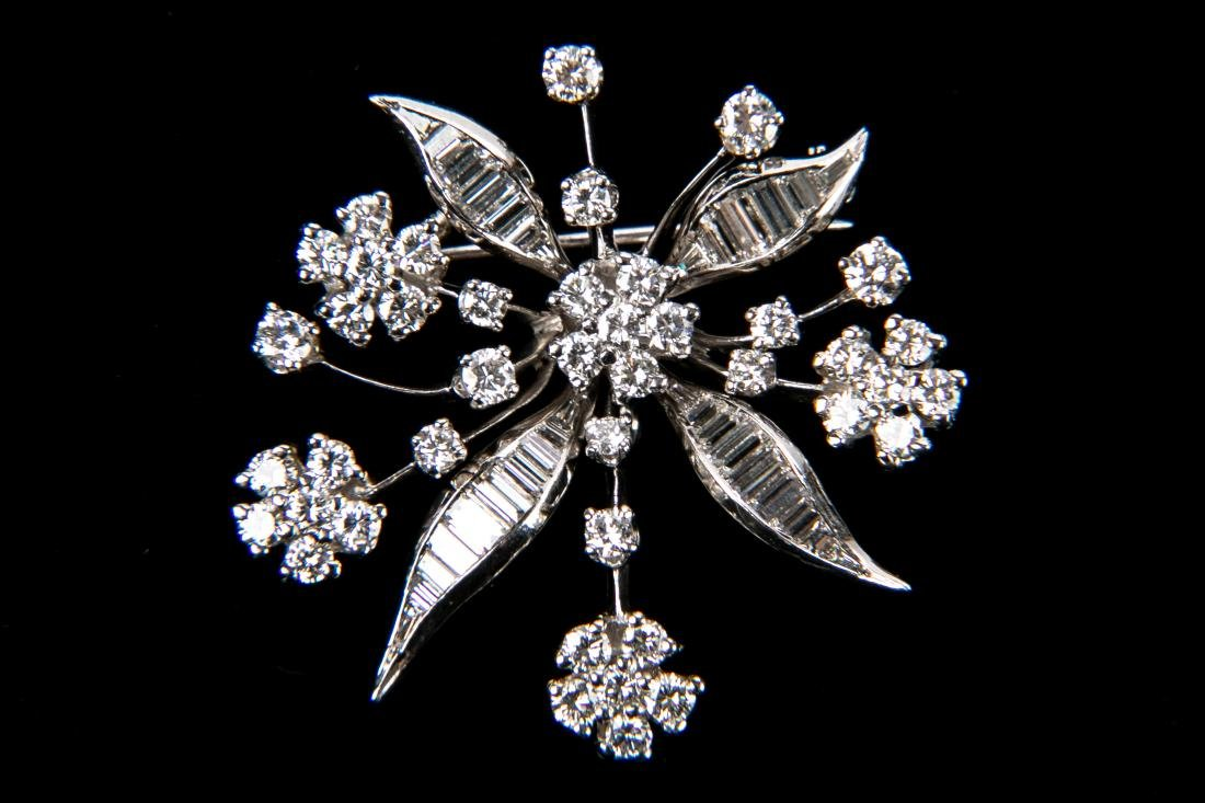 Platinum Diamond Floral Brooch With Appraisal 3.6 TCW