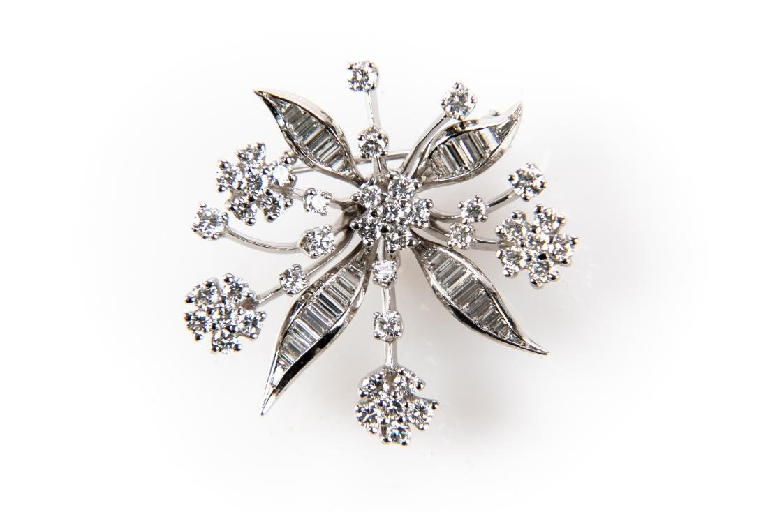 Platinum Diamond Floral Brooch With Appraisal 3.6 TCW - 3