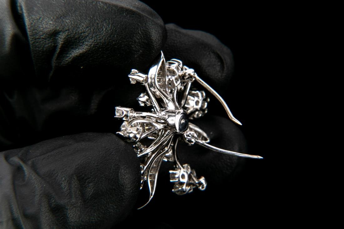 Platinum Diamond Floral Brooch With Appraisal 3.6 TCW - 4