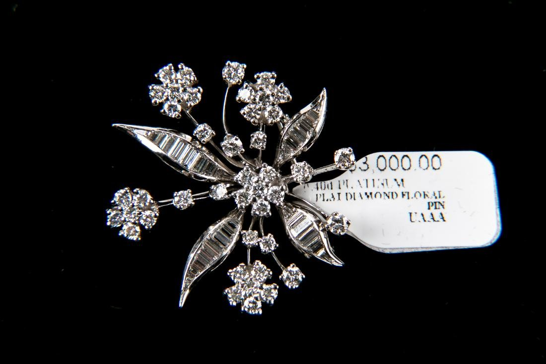Platinum Diamond Floral Brooch With Appraisal 3.6 TCW - 5