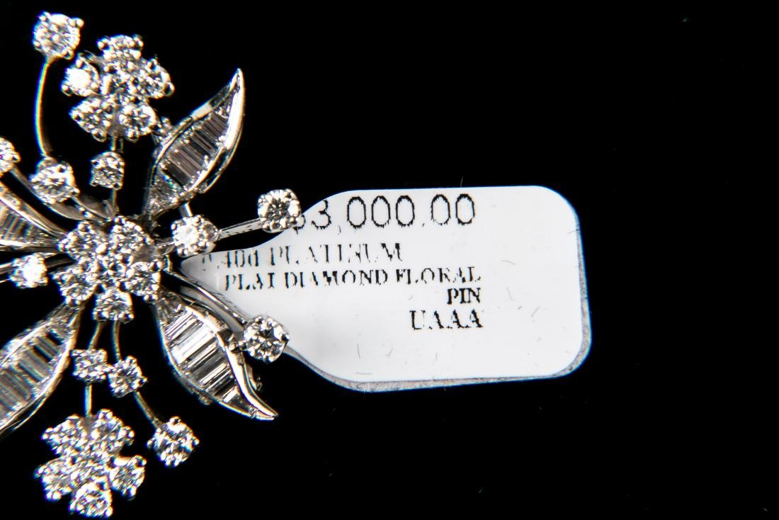 Platinum Diamond Floral Brooch With Appraisal 3.6 TCW - 6
