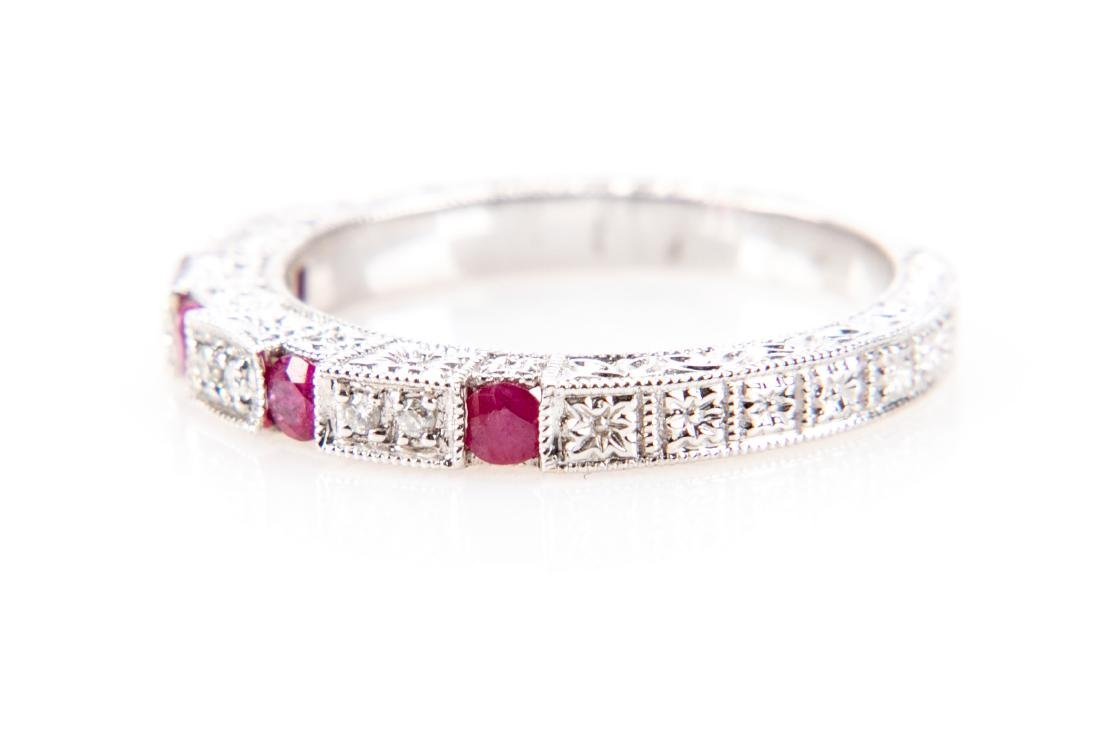 18K Gold, Ruby And Diamond RIng - 2