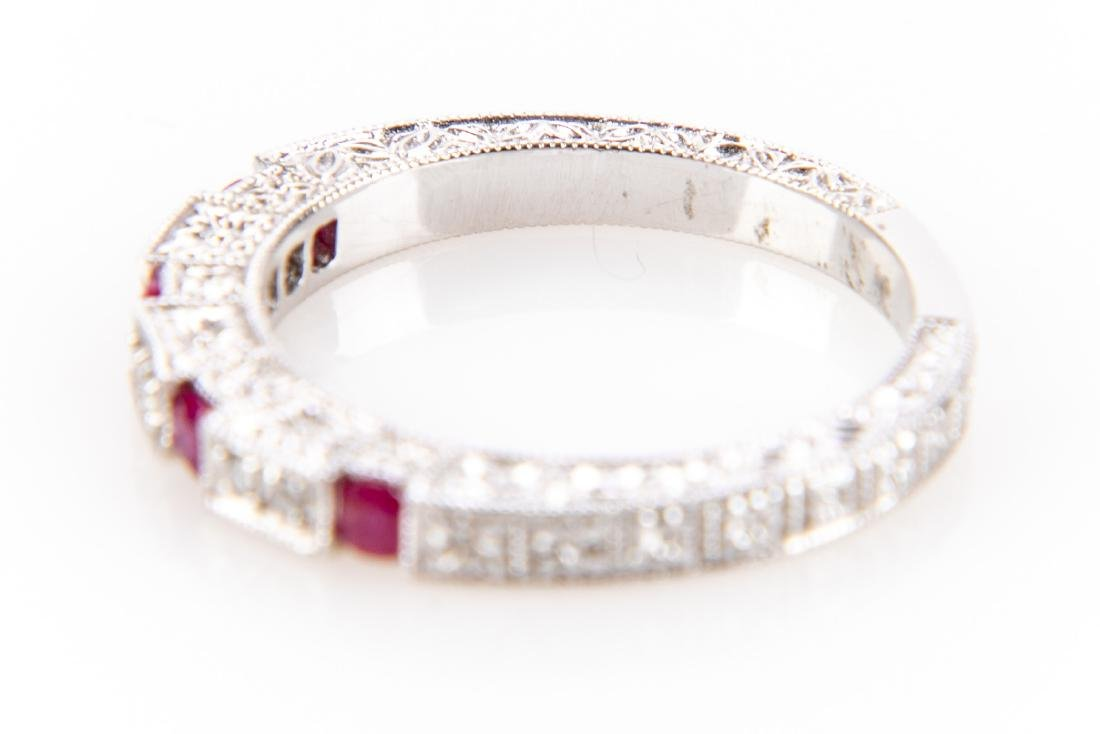 18K Gold, Ruby And Diamond RIng - 6