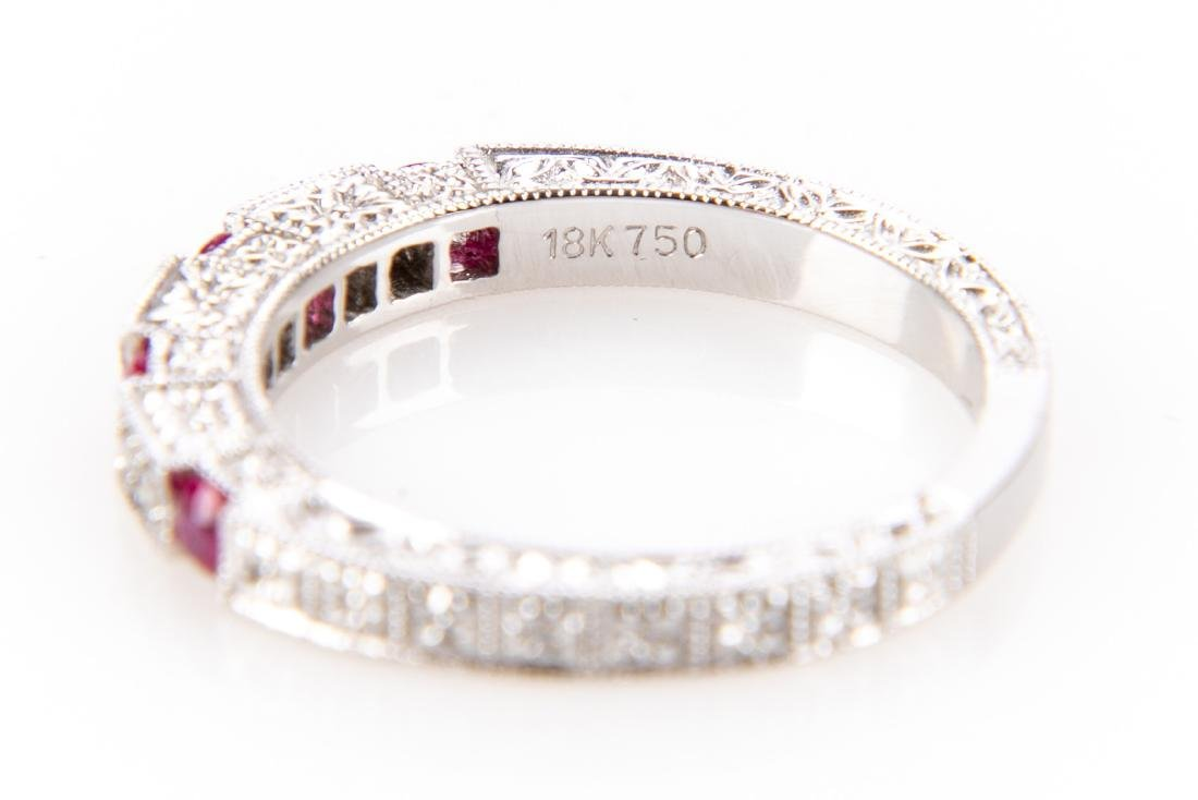 18K Gold, Ruby And Diamond RIng - 8