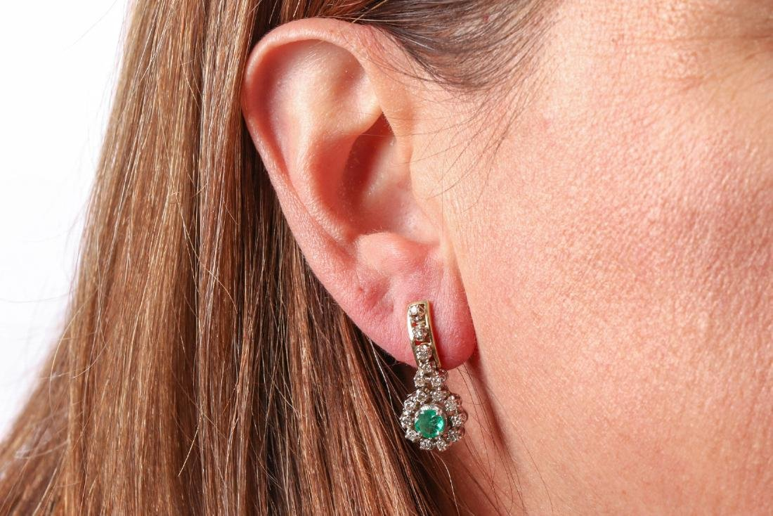 Pair Of Diamond And Emerald 14K Gold Earrings - 10