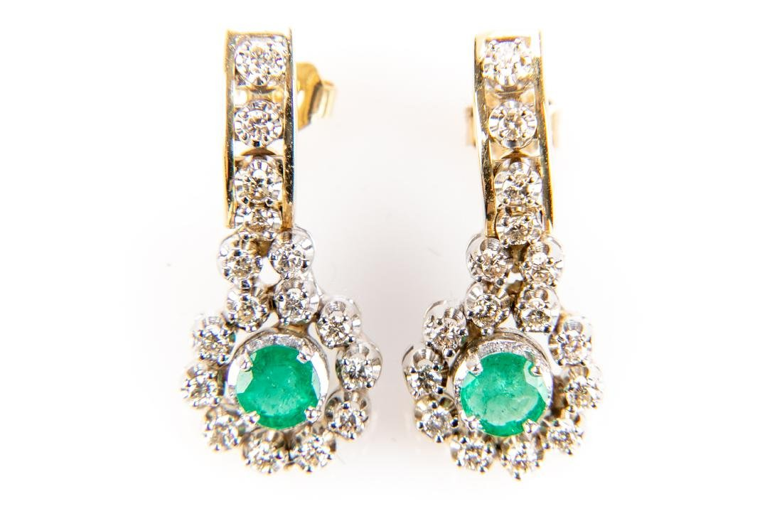 Pair Of Diamond And Emerald 14K Gold Earrings