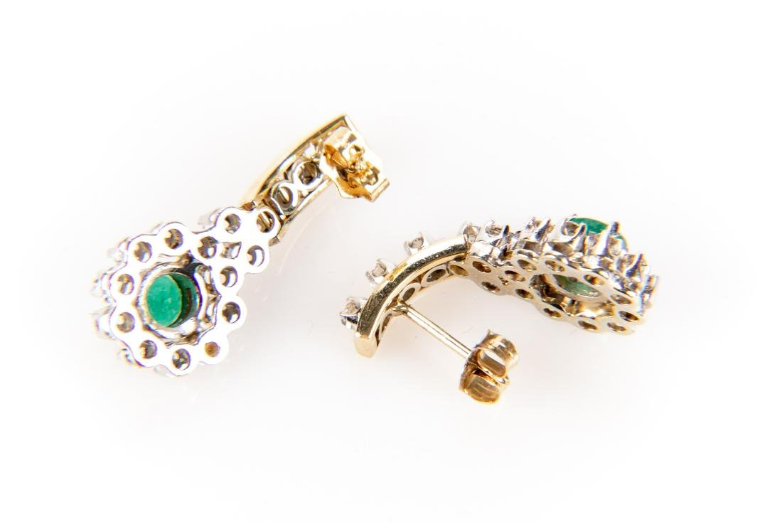 Pair Of Diamond And Emerald 14K Gold Earrings - 3