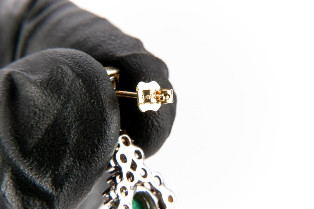 Pair Of Diamond And Emerald 14K Gold Earrings - 4