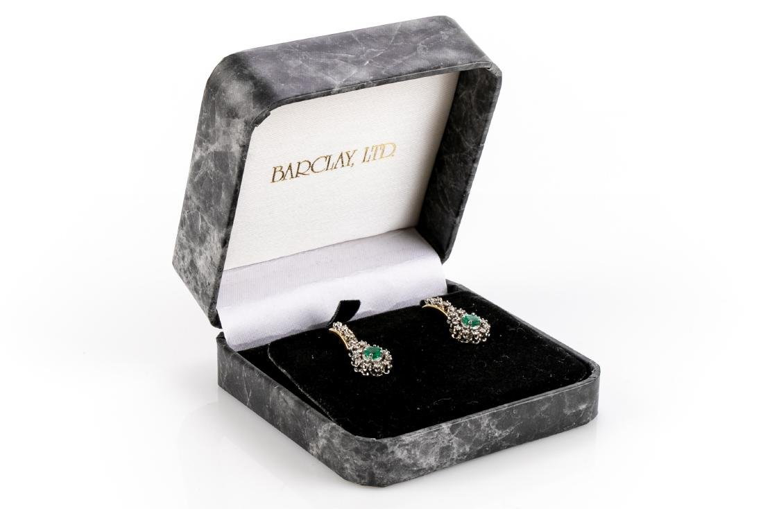 Pair Of Diamond And Emerald 14K Gold Earrings - 5