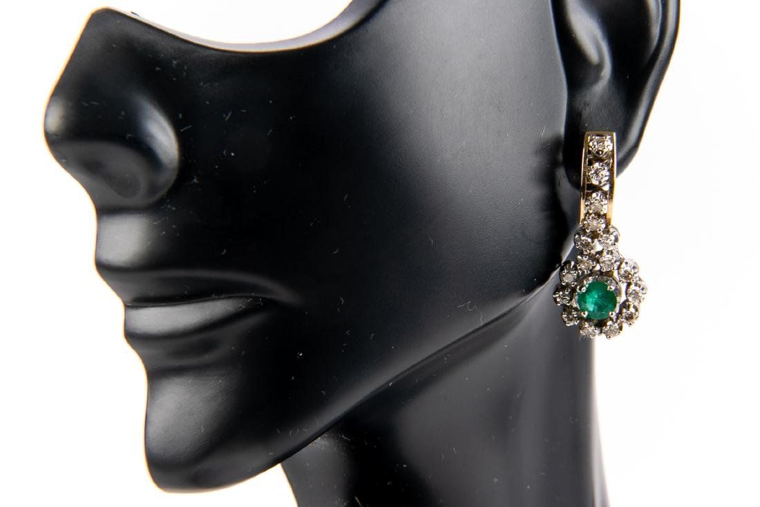 Pair Of Diamond And Emerald 14K Gold Earrings - 6