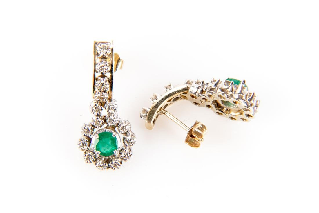 Pair Of Diamond And Emerald 14K Gold Earrings - 7