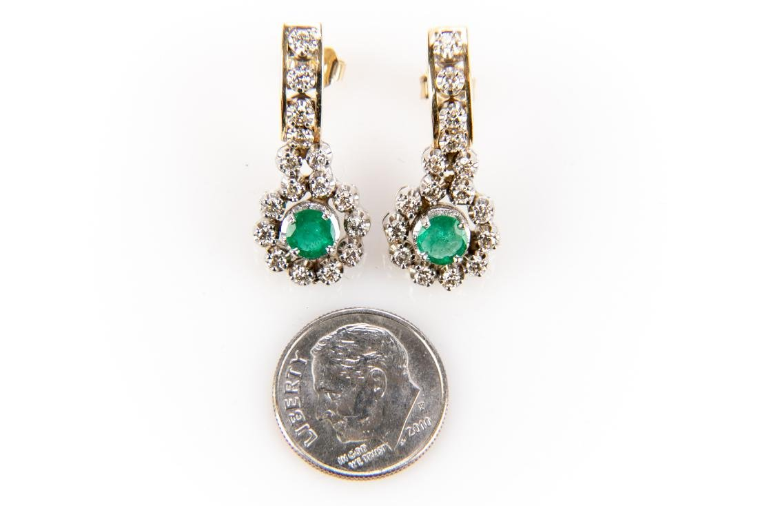 Pair Of Diamond And Emerald 14K Gold Earrings - 8