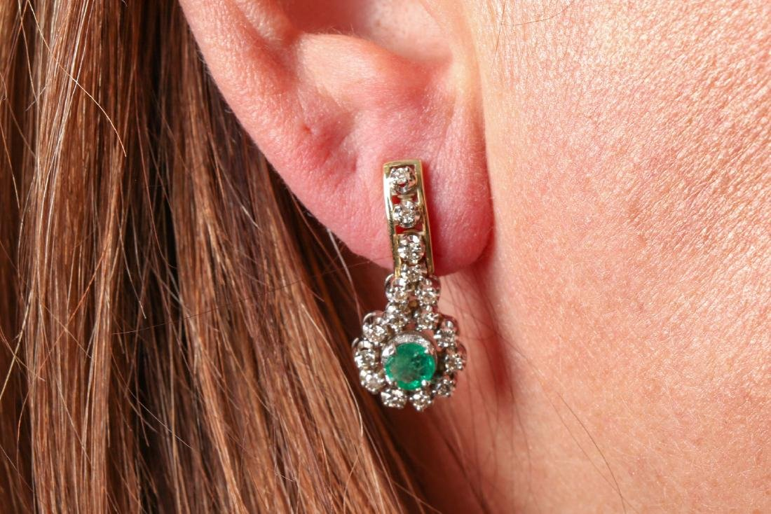 Pair Of Diamond And Emerald 14K Gold Earrings - 9