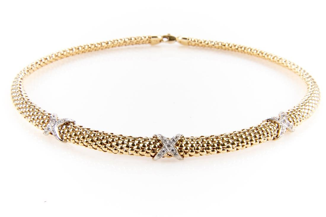 14K Gold And Diamond Collar Necklace