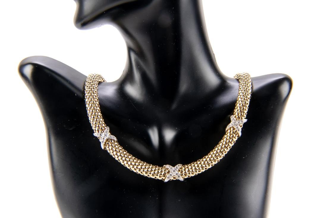 14K Gold And Diamond Collar Necklace - 5