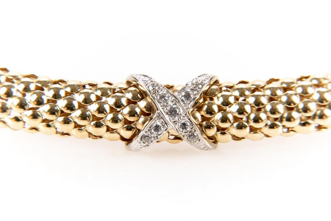 14K Gold And Diamond Collar Necklace - 7