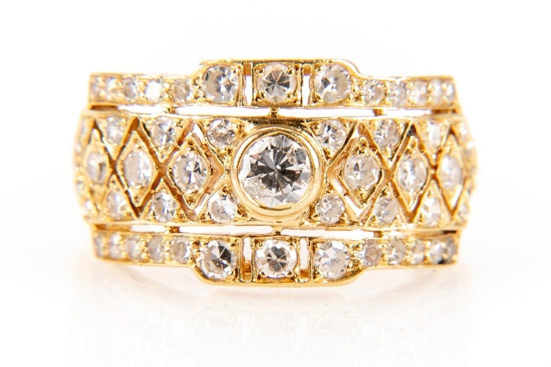 18K Gold And Diamond Italian Open Gallery Ring