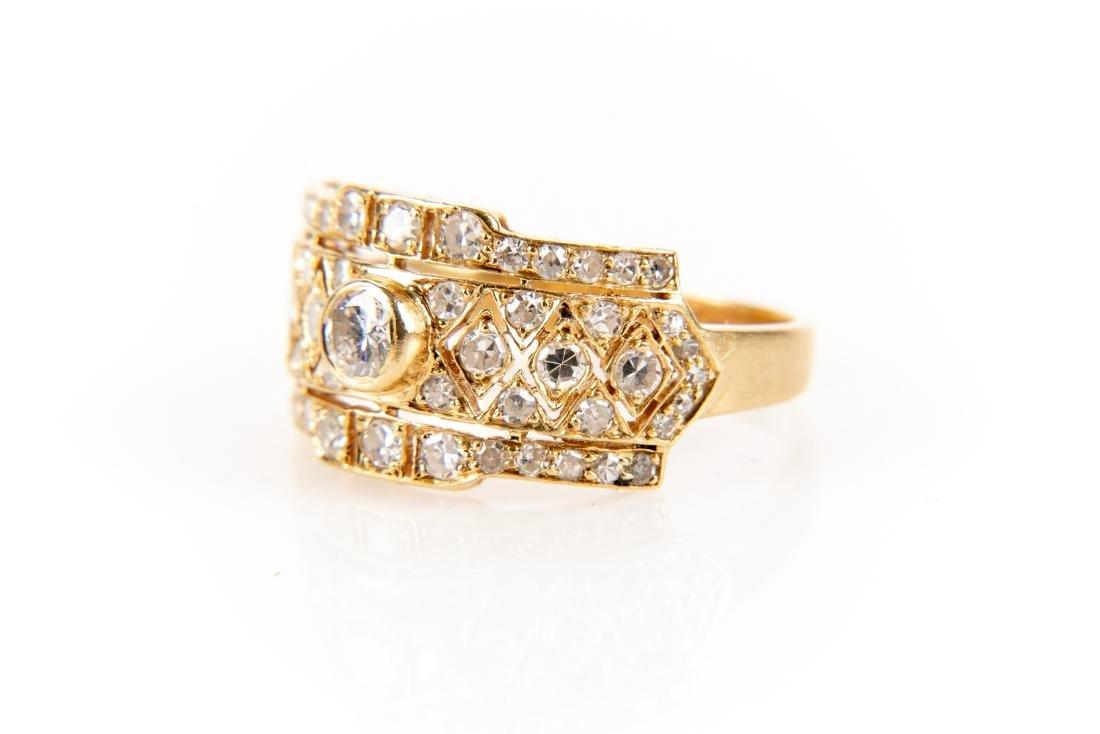 18K Gold And Diamond Italian Open Gallery Ring - 2
