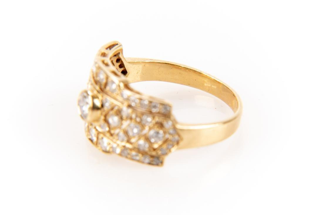 18K Gold And Diamond Italian Open Gallery Ring - 3