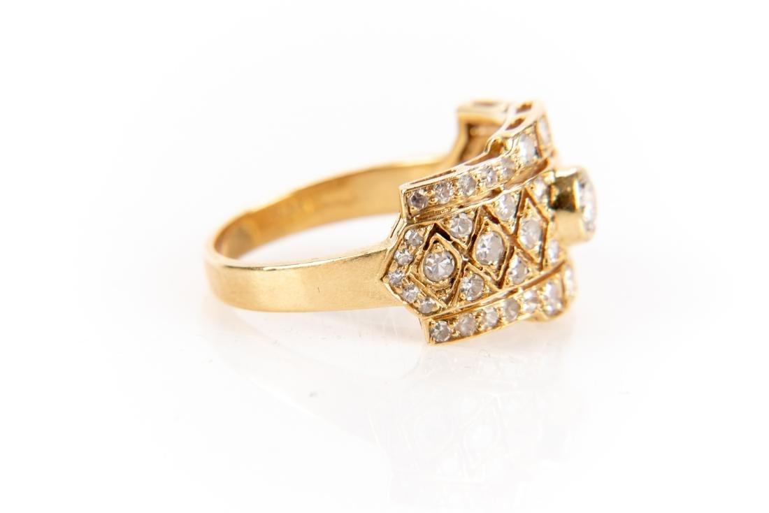 18K Gold And Diamond Italian Open Gallery Ring - 5