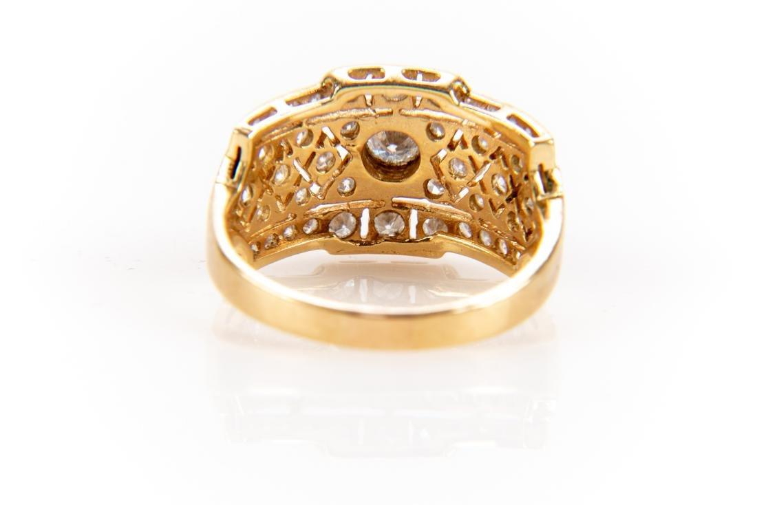 18K Gold And Diamond Italian Open Gallery Ring - 6