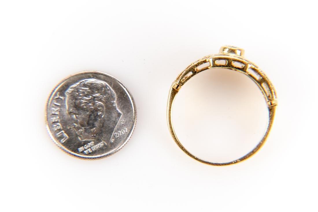 18K Gold And Diamond Italian Open Gallery Ring - 7
