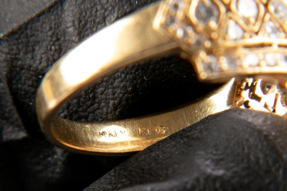 18K Gold And Diamond Italian Open Gallery Ring - 8