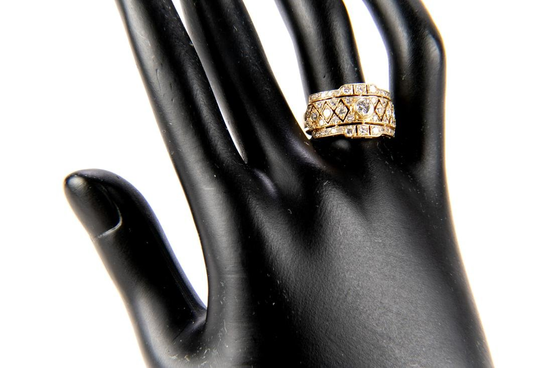 18K Gold And Diamond Italian Open Gallery Ring - 9
