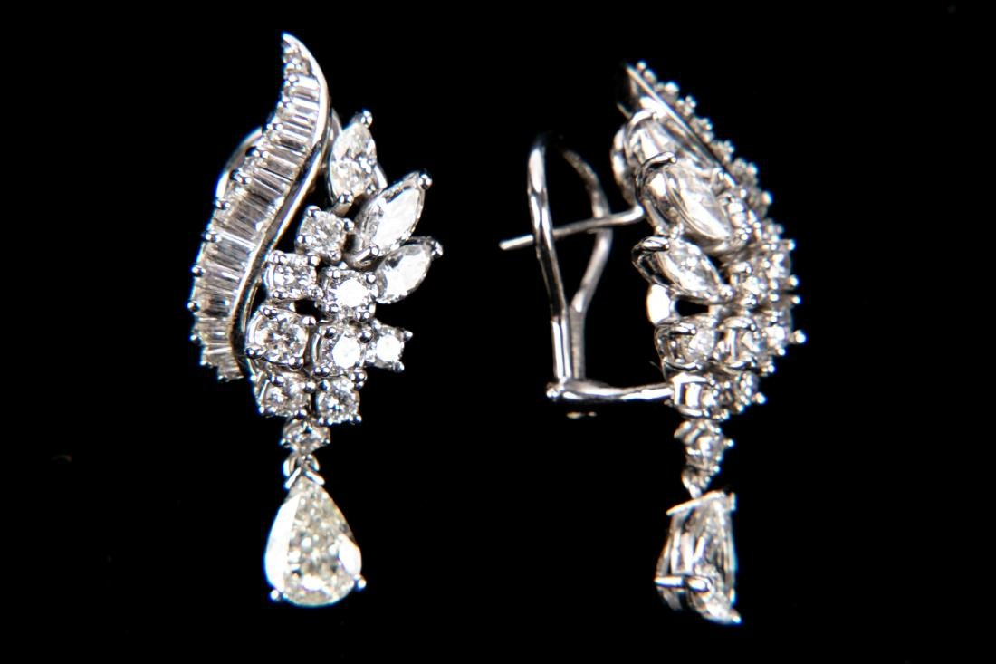 Platinum And Diamond Earrings With Appraisal, 4.92 TCW