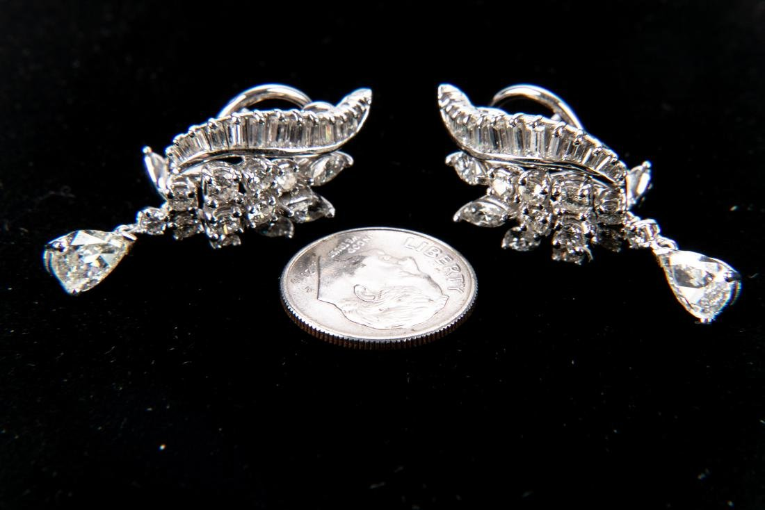 Platinum And Diamond Earrings With Appraisal, 4.92 TCW - 6