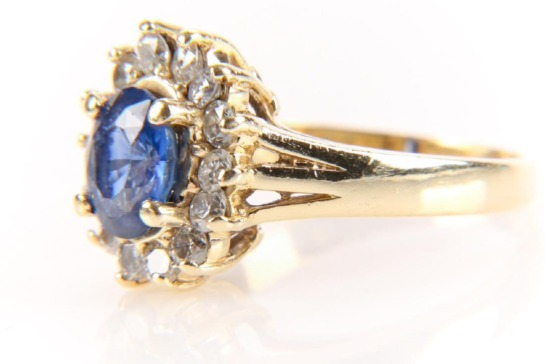 14K Gold, Sapphire And Diamond Ring - 2